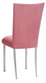 Raspberry Suede Chair Cover and Cushion on Silver Legs