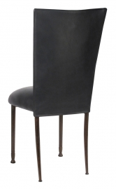 Black Leatherette Chair Cover and Cushion on Mahogany Legs