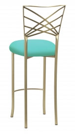 Gold Fanfare Barstool with Aqua Stretch Knit Cushion