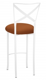 Simply X White Barstool with Copper Stretch Knit Cushion