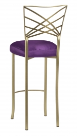 Gold Fanfare Barstool with Purple Taffeta Boxed Cushion