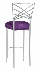 Silver Fanfare Barstool with Purple Taffeta Boxed Cushion