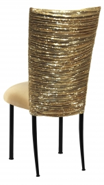 Gold Bedazzled Chair Cover with Gold Stretch Knit Cushion on Black Legs