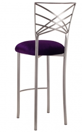 Silver Fanfare Barstool with Deep Purple Velvet Cushion