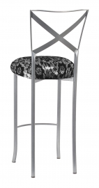 Simply X Barstool with Black Camisole Lace over Metallic Silver Stretch Knit Cushion