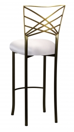 Two Tone Fanfare Barstool with Platinum Satin Cushion