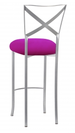 Silver Simply X Barstool with Magenta Stretch Knit Cushion