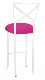 Simply X White Barstool with Hot Pink Stretch Knit Cushion