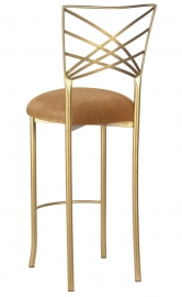 Gold Fanfare Barstool with Gold Velvet Cushion