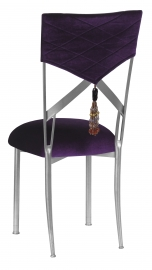 Eggplant Velvet Hat and Tassel Chair Cover with Cushion on Simply X