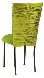 Green Shantung with Gold Rhinestone Accent and Lime Green Cushion on Brown Legs