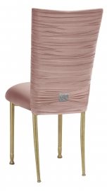 Chloe Blush Stretch Knit Chair Cover with Rhinestone Accent and Cushion on Gold Legs