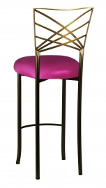 Two Tone Fanfare Barstool with Metallic Fuchsia Knit Cushion
