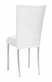 Chloe White Stretch Knit Chair Cover and Cushion on Silver Legs