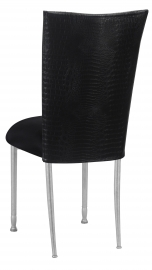 Matte Black Croc Chair Cover with Black Stretch Knit Cushion on Silver Legs