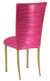 Chloe Metallic Fuchsia Stretch Knit Chair Cover and Cushion on Gold Legs