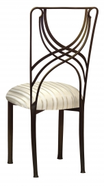 Bronze La Corde with Ivory Sateen Stripe Cushion