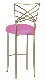 Gold Fanfare Barstool with Pink Glitter Knit Cushion