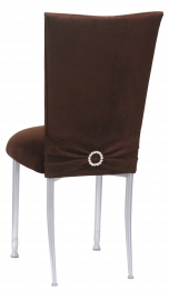 Chocolate Suede Chair Cover, Jewel Belt and Cushion on Silver Legs