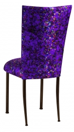 Purple Paint Splatter Chair Cover and Cushion on Brown Legs