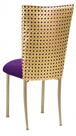 Dragon Eyes Chair Cover with Plum Knit Cushion on Gold Legs