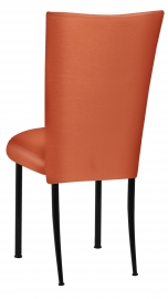 Orange Taffeta Chair Cover with Boxed Cushion on Black Legs