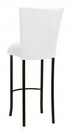 White Suede Barstool Cover and Cushion on Brown Legs