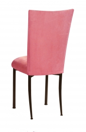 Raspberry Suede Chair Cover and Cushion on Brown Legs