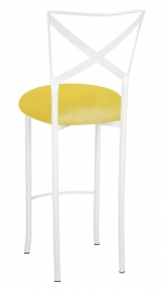 Simply X White Barstool with Bright Yellow Velvet Cushion