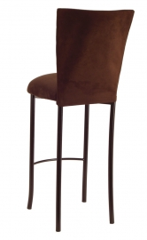 Chocolate Suede Chair Cover and Cushion on Brown Legs