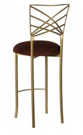 Gold Fanfare Barstool with Chocolate Suede Cushion