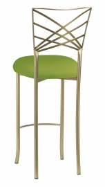 Gold Fanfare Barstool with Lime Knit Cushion