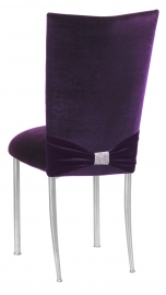 Deep Purple Velvet Chair Cover with Rhinestone Accent and Cushion on Silver Legs