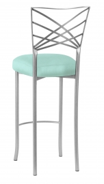 Silver Fanfare Barstool with Tropic Teal Taffeta Boxed Cushion