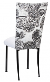 White Swirl Velvet Chair Cover with White Suede Cushion on Black Legs