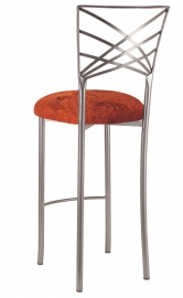 Silver Fanfare Barstool with Paprika Crushed Velvet Cushion