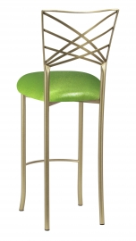 Gold Fanfare Barstool with Metallic Lime Knit Cushion
