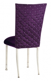 Purple Diamond Tufted Taffeta Chair Cover with Deep Purple Velvet Cushion on Ivory Legs