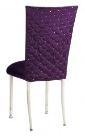 Purple Diamond Tufted Taffeta Chair Cover with Deep Purple Velvet Cushion on Ivory Legs