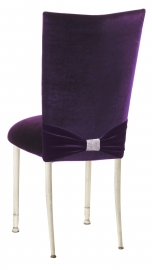 Deep Purple Velvet Chair Cover with Rhinestone Accent and Cushion on Ivory Legs