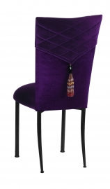 Eggplant Velvet Hat and Tassel Chair Cover with Eggplant Velvet Cushion on Brown Legs
