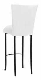 White Suede Barstool Cover and Cushion on Black Legs