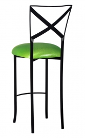 Blak. Barstool with Metallic Lime Stretch Knit Cushion
