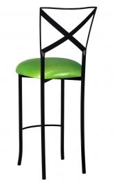 Blak. Barstool with Metallic Lime Stretch Knit Cushion