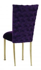 Aubergine Circle Ribbon Taffeta Chair Cover with Eggplant Velvet Cushion on Gold Legs