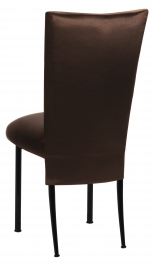 Brown Satin 3/4 Chair Cover and Cushion on Black Legs