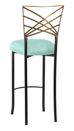 Two Tone Gold Fanfare Barstool with Tropic Teal Taffeta Boxed Cushion