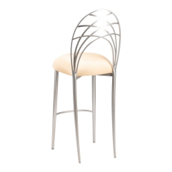 Silver Piazza Barstool with Toffee Stretch Knit Cushion