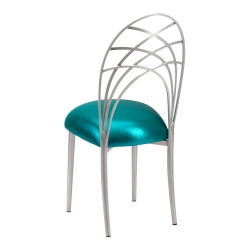 Silver Piazza with Metallic Teal Stretch Knit Cushion