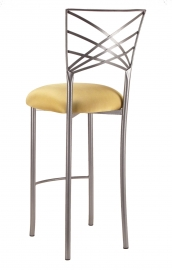 Silver Fanfare Barstool with Gold Stretch Knit